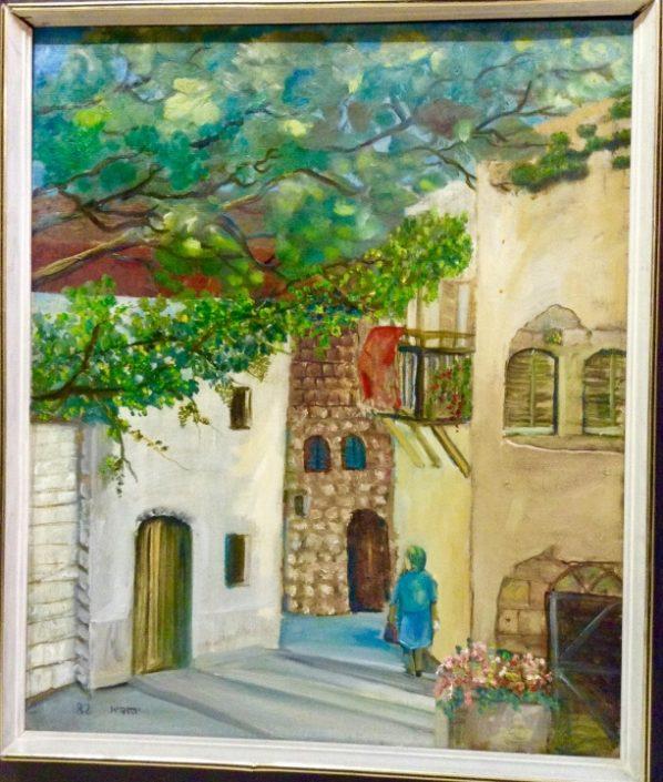 בית בן אורי עם המרפסת, ציור של יהודית עבו עברון
